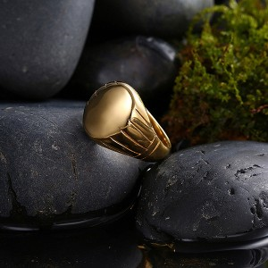 Simple Gold Plated Round Stainless Steel Men's Ring