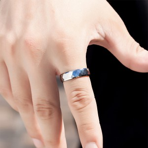 Tungsten Combination Silver Series High-Polished Brushed Blue Plating Centerline Ring