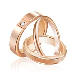 3pcs/set Solid Polished Rings Set Unisex Rose Gold Plated Tungsten Steel Ring