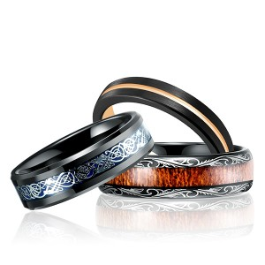 Factory Price For Tungsten Carbide Nickel Rings - Classic Gothic Style Ring Combination Inlaid Tungsten Steel Ring Set for Sale – Ouyuan