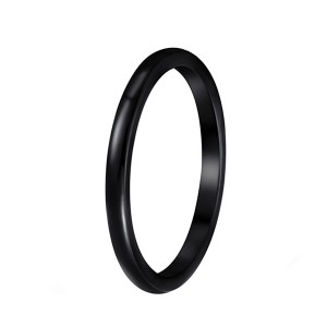 Simple European and American Men's Popular Full Arc Black Tungsten Steel Ring