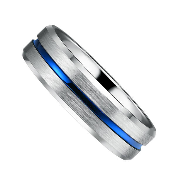 Blue Groove 8mm High Polish Tungsten Carbide Wedding Band Engagement Ring For Men Comfort Fit Featured Image