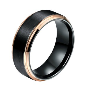 Wholesale Price China Tungsten Carbide Infinity Ring - New Style Jewelry Matte Brushed Wedding Band Rose Gold Plated Beveled Edge Tungsten Wedding Ring For Men – Ouyuan
