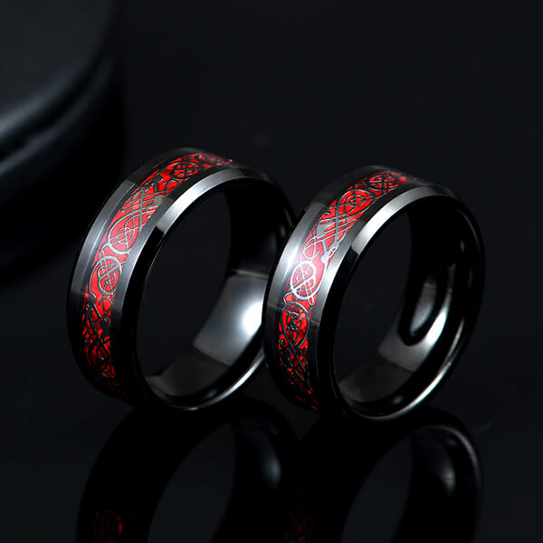 Cheap PriceList for Black And Rose Gold Mens Tungsten Ring - Men's 8mm Red Carbon Fiber Black Celtic Dragon Tungsten Carbide Single Ring – Ouyuan