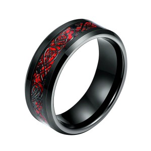 Big discounting 2mm Cross Channel Tungsten Ring Bevel - Men's 8mm Red Carbon Fiber Black Celtic Dragon Tungsten Carbide Single Ring – Ouyuan