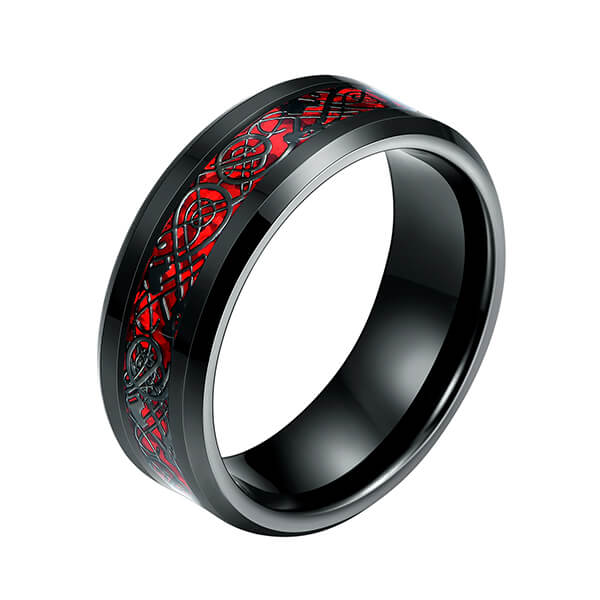 factory customized Gold Wedding Rings Jewelry - Men's 8mm Red Carbon Fiber Black Celtic Dragon Tungsten Carbide Single Ring – Ouyuan