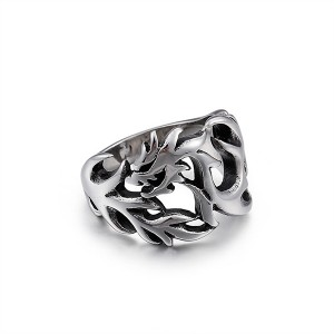 Silver Personalized Dragon-Shaped Hollow Stainless Steel Titanium Ring