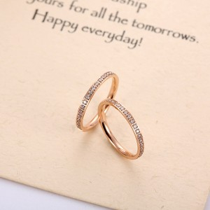 Fashion Titanium Steel Rose Gold Single Circle Diamond Ring Women