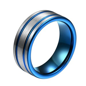 Ordinary Discount Walmart Wedding Bands - Classic Men 8mm Blue Tungsten Carbide Rings Polished Beveled Edge Double Groove For Mens – Ouyuan