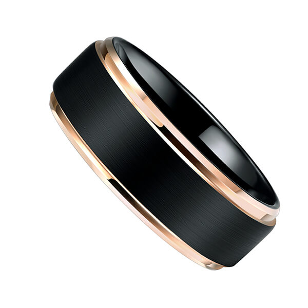 Factory Outlets Gold Dragon Tungsten Ring - New Style Jewelry Matte Brushed Wedding Band Rose Gold Plated Beveled Edge Tungsten Wedding Ring For Men – Ouyuan