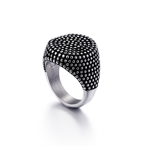 Creative Surface Retro Punk Style Stainless Steel Titanium Ring Featured Image