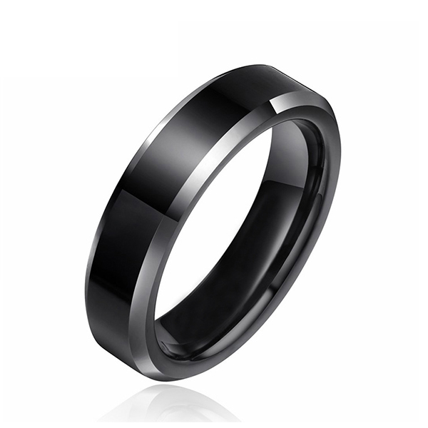 Black High Polished Silver Edge Black Tungsten Ring for Unisex Featured Image