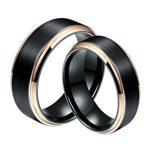 6mm 8MM Black Tungsten Carbide Ring Matte Brushed Wedding Band Rose Gold Plated Beveled Edge