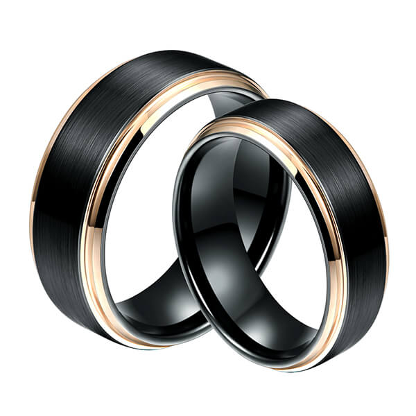 Factory Supply Unique Tungsten Mens Wedding Bands - 6mm 8MM Black Tungsten Carbide Ring Matte Brushed Wedding Band Rose Gold Plated Beveled Edge – Ouyuan