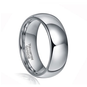 Classic Dome Design Polished Shiny Tungsten Wedding Band Jewelry