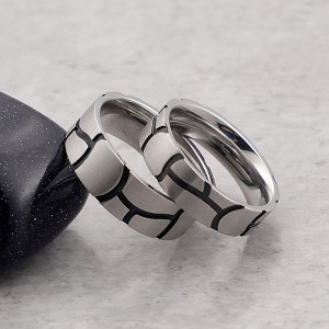 Surface Drawn Yarn and Black Striped Stainless Steel Ring