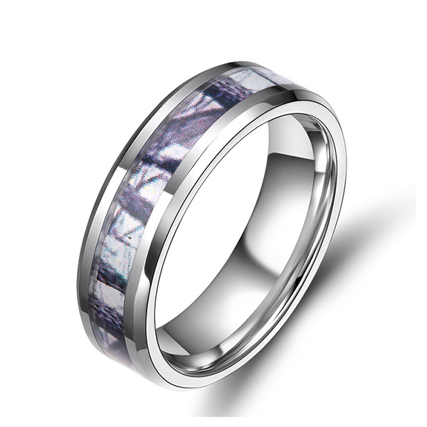 Purple Bamboo Pattern Inlaid Tungsten Ring Men's Featured Image