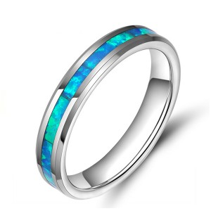 Men's Tungsten Steel Primary Color Blue Inlaid Tungsten Steel Two-Tone Ring