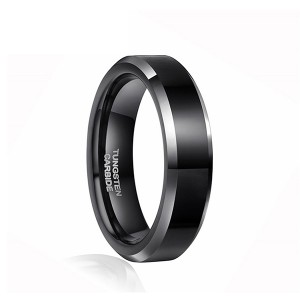 Black High Polished Silver Edge Black Tungsten Ring for Unisex