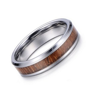 Vintage Natural Color Inlaid Wood Leather Men's Jewelry Tungsten Ring