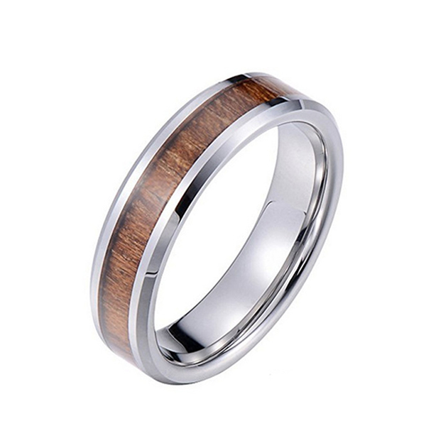 Vintage Natural Color Inlaid Wood Leather Men's Jewelry Tungsten Ring Featured Image