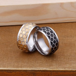 Personalized Creative Honeycomb Titanium Stainless Steel Ring