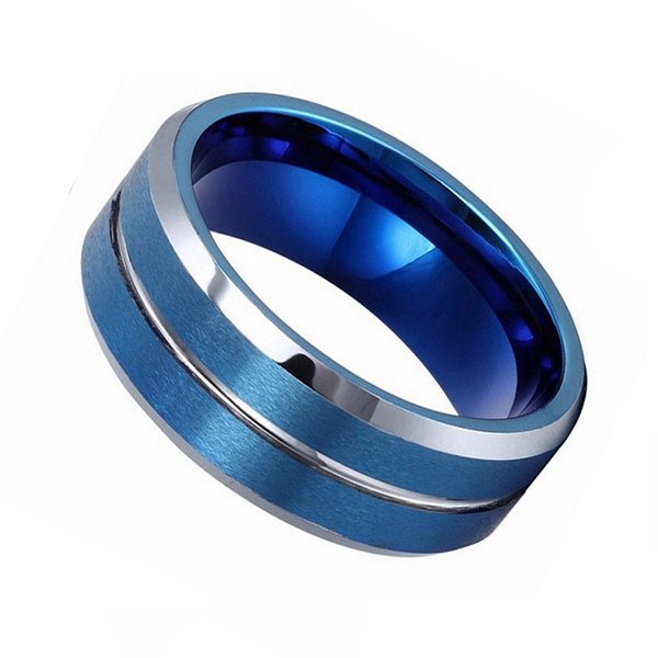 Double Brushed Blue Tungsten Steel Ring with Silver Bevel and Line Featured Image