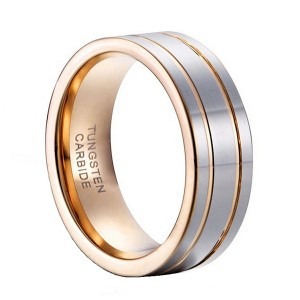 14k Gold Plated Silver High Polished Double Line Tungsten Steel Ring