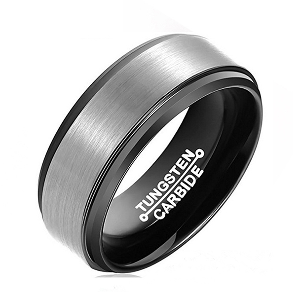 Simple Business Brushed Black-Plated Tungsten Steel Men's Ring Featured Image