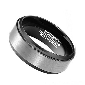 Simple Business Brushed Black-Plated Tungsten Steel Men's Ring
