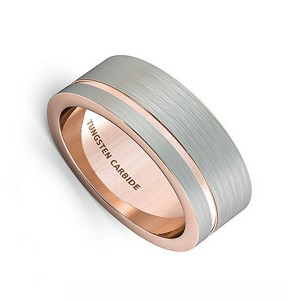 Tungsten Natural Rose Gold Tungsten Steel Brushed Ring for Men