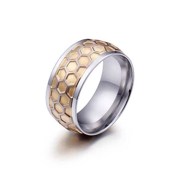 Personalized Creative Honeycomb Titanium Stainless Steel Ring Featured Image