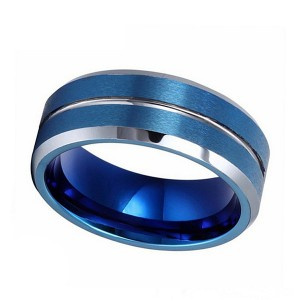 Double Brushed Blue Tungsten Steel Ring with Silver Bevel and Line