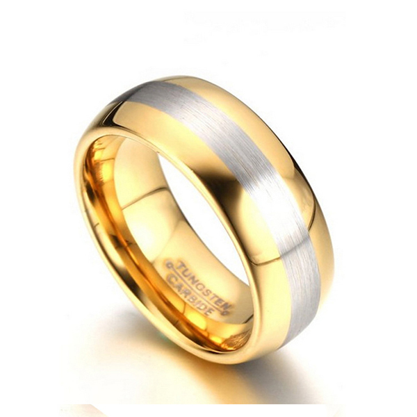 Gold-Plated Men's Tungsten Steel Rings with Brushed Middle Band Featured Image