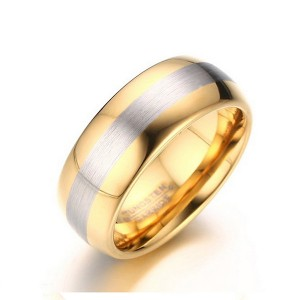 Gold-Plated Men's Tungsten Steel Rings with Brushed Middle Band