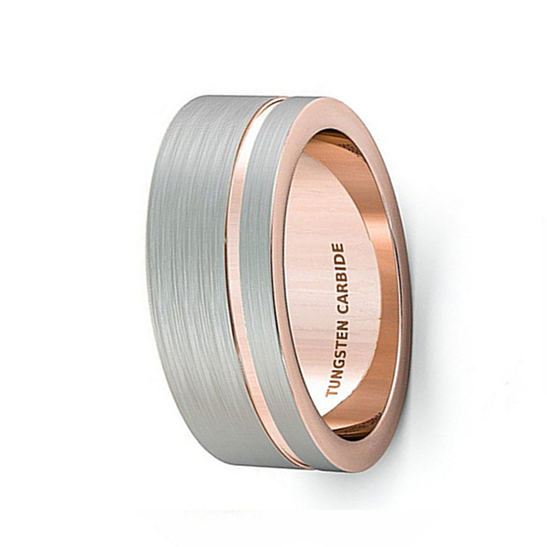 Tungsten Natural Rose Gold Tungsten Steel Brushed Ring for Men Featured Image
