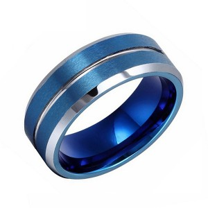 Classic Fashion Blue Faceted Tungsten Steel Tail Ring for Men