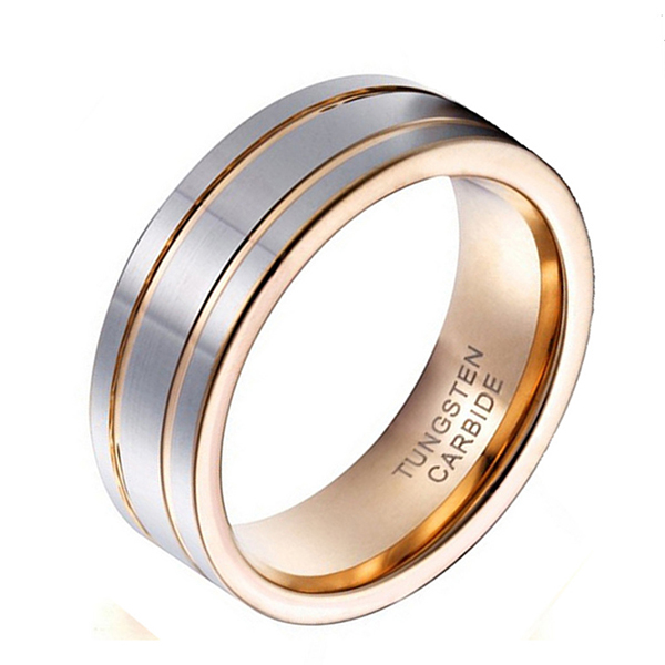 14k Gold Plated Silver High Polished Double Line Tungsten Steel Ring Featured Image