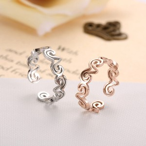Fashion Lamb Open Ring Titanium Steel Plated 18K Rose Gold Couple Ring