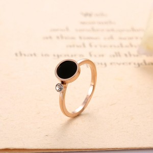 Korean Version of Black Shell Smooth Ring Couple Ring Titanium Steel Rose Gold