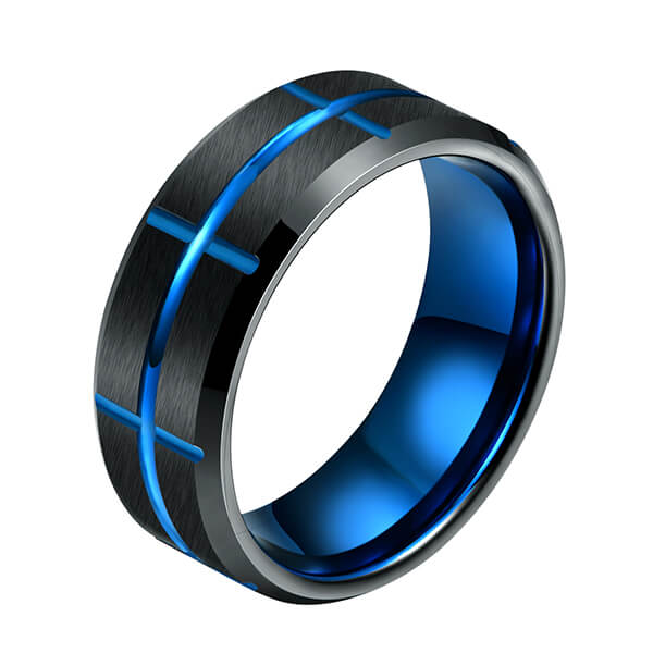 Professional China Are Tungsten Rings Durable - Single New Design Black & Blue Plated Genuine Tungsten Carbide Rings – Ouyuan