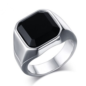 Fashion Stainless Steel Signet Rings with Black Agate for Men