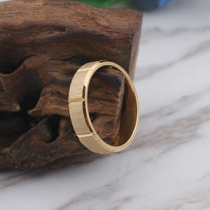 Fashion Simple Style Frosted Slotted Stainless Steel Titanium Ring