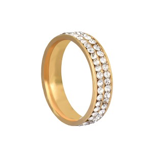Bright Design Double Row Zircon Stainless Steel Ring for Men