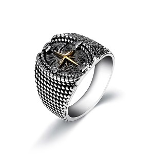 Retro Vintage Stainless Steel Four-Pointed Star Cross Religious Ring