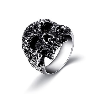 Jewelers Stainless Steel Gothic Skull Vintage Masonic Biker Ring