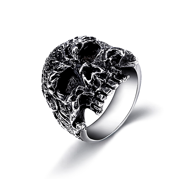 Jewelers Stainless Steel Gothic Skull Vintage Masonic Biker Ring Featured Image