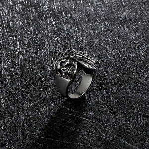 Mens Fashion Jewelry Rings 316L Stainless Steel Exaggerated Skull Ring for Men