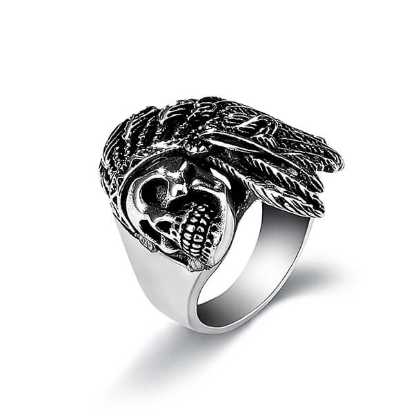 Mens Fashion Jewelry Rings 316L Stainless Steel Exaggerated Skull Ring for Men Featured Image