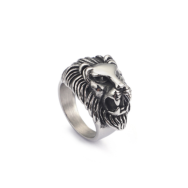 Trendy Retro Hip Hop Punk Style Wolf Stainless Steel Ring Featured Image